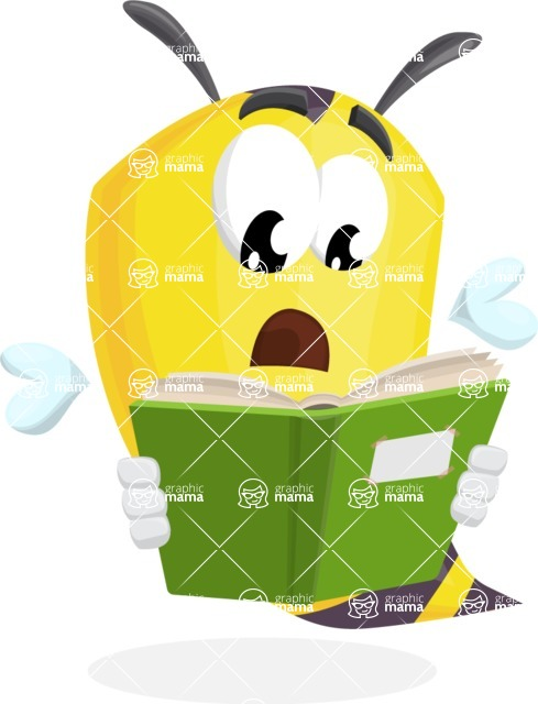 Bee Cartoon Vector Character AKA Mr. Bee Busy - Reading a Book
