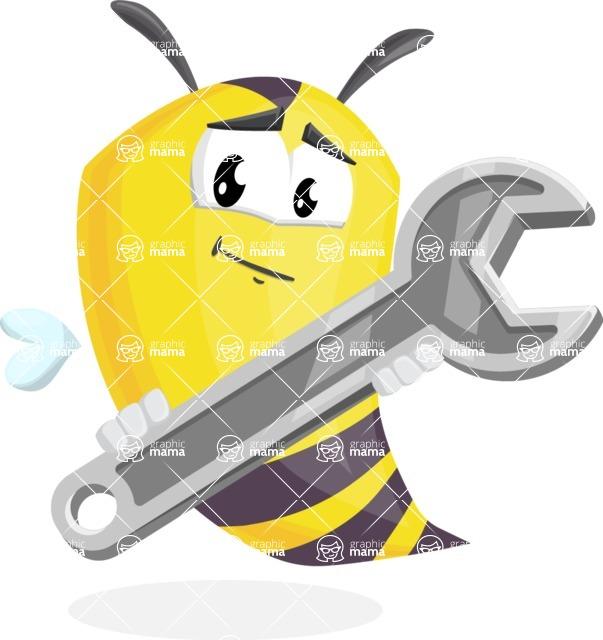 Bee Cartoon Vector Character AKA Mr. Bee Busy - Repair