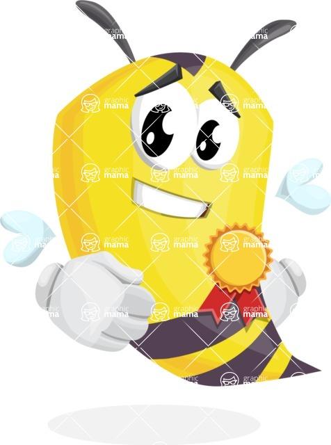 Bee Cartoon Vector Character AKA Mr. Bee Busy - Ribbon