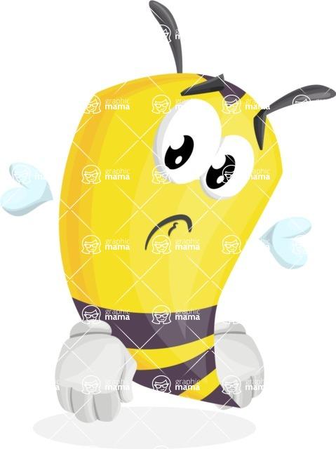 Bee Cartoon Vector Character AKA Mr. Bee Busy - Sad