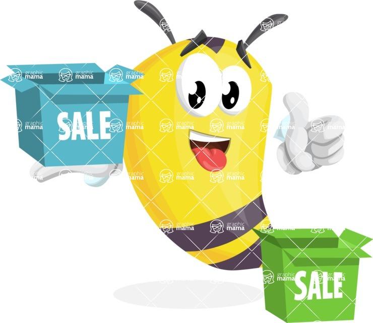 Bee Cartoon Vector Character AKA Mr. Bee Busy - Sale