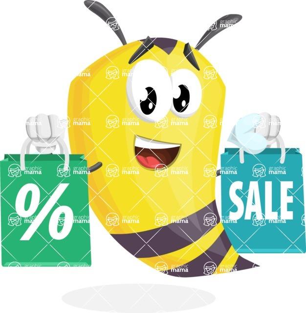 Bee Cartoon Vector Character AKA Mr. Bee Busy - Sale2