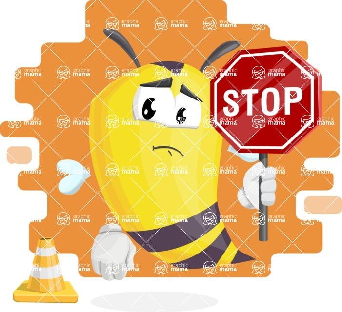 Bee Cartoon Vector Character AKA Mr. Bee Busy - Shape 10
