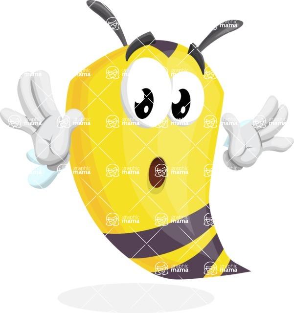Bee Cartoon Vector Character AKA Mr. Bee Busy - Shocked