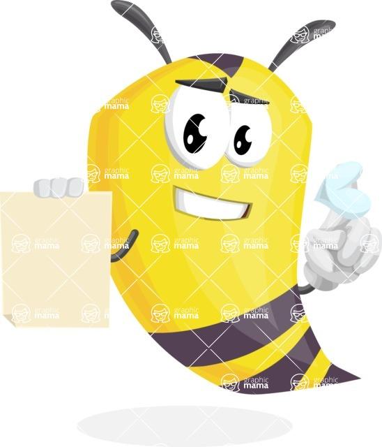 Bee Cartoon Vector Character AKA Mr. Bee Busy - Sign 2