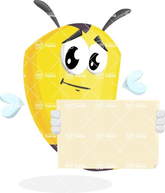 Bee Cartoon Vector Character AKA Mr. Bee Busy - Sign 3