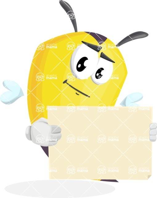 Bee Cartoon Vector Character AKA Mr. Bee Busy - Sign 4
