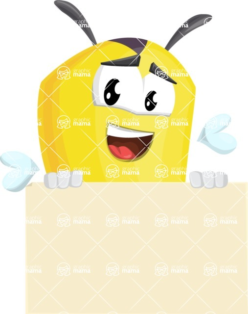 Bee Cartoon Vector Character AKA Mr. Bee Busy - Sign 6