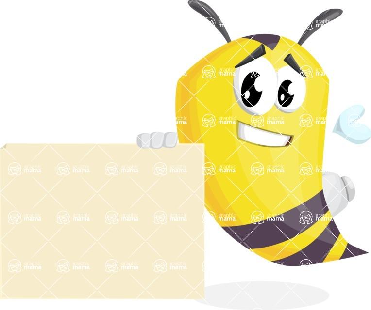 Bee Cartoon Vector Character AKA Mr. Bee Busy - Sign 7