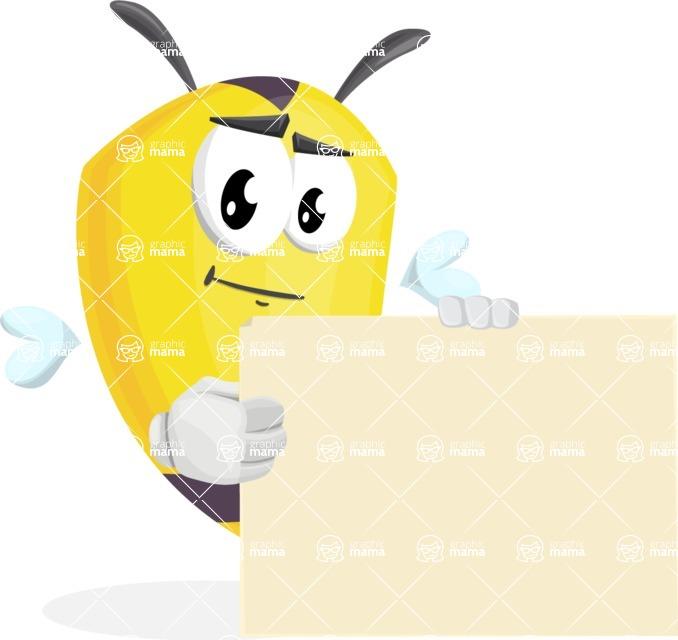 Bee Cartoon Vector Character AKA Mr. Bee Busy - Sign 8
