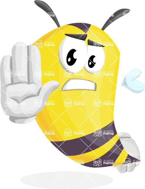 Bee Cartoon Vector Character AKA Mr. Bee Busy - Stop