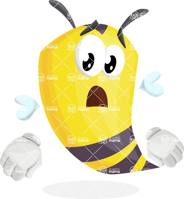 Bee Cartoon Vector Character AKA Mr. Bee Busy - Stunned