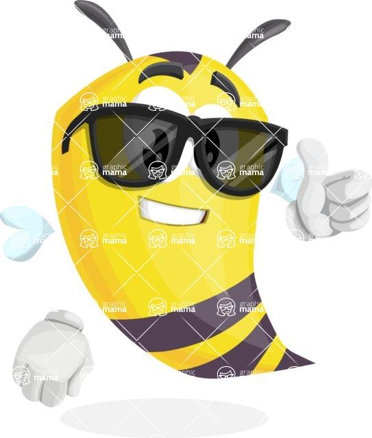 Bee Cartoon Vector Character AKA Mr. Bee Busy - Sunglasses