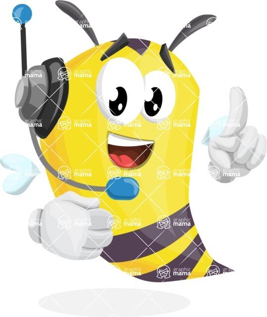 Bee Cartoon Vector Character AKA Mr. Bee Busy - Support 2