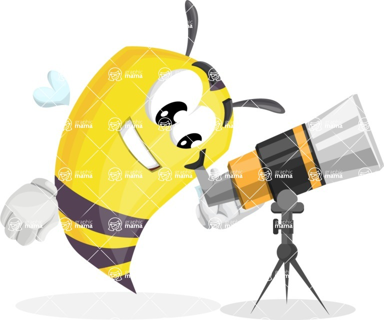 Bee Cartoon Vector Character AKA Mr. Bee Busy - Telescope