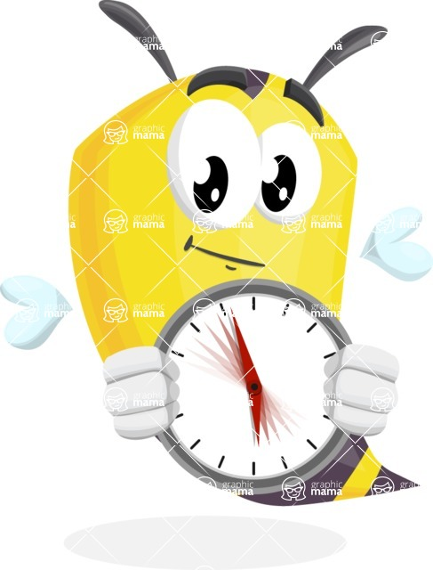 Bee Cartoon Vector Character AKA Mr. Bee Busy - Time is Yours