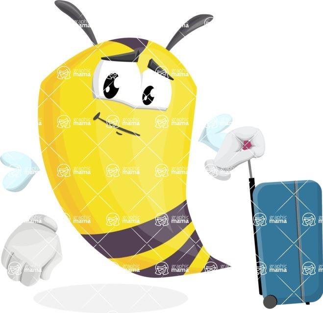 Bee Cartoon Vector Character AKA Mr. Bee Busy - Travel 1