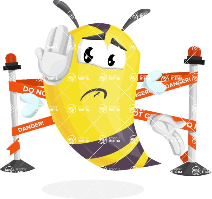 Bee Cartoon Vector Character AKA Mr. Bee Busy - Under Construction 2