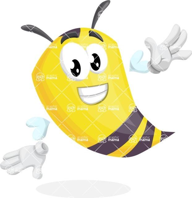 Bee Cartoon Vector Character AKA Mr. Bee Busy - Wave