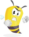 Bee Cartoon Vector Character AKA Mr. Bee Busy - Angry