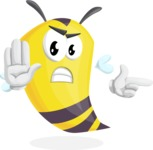 Bee Cartoon Vector Character AKA Mr. Bee Busy - Direct Attention