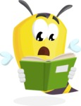 Bee Cartoon Vector Character AKA Mr. Bee Busy - Reading a Book
