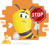 Bee Cartoon Vector Character AKA Mr. Bee Busy - Shape 10