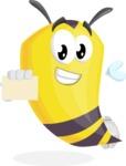 Bee Cartoon Vector Character AKA Mr. Bee Busy - Sign 1