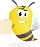 Bee Cartoon Vector Character AKA Mr. Bee Busy - Sign 2