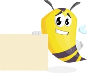Bee Cartoon Vector Character AKA Mr. Bee Busy - Sign 7