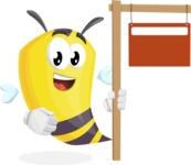 Bee Cartoon Vector Character AKA Mr. Bee Busy - Sign 9