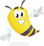 Bee Cartoon Vector Character AKA Mr. Bee Busy - Wave