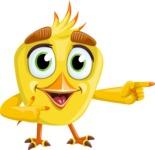 Simple Style Bird Cartoon Vector Character AKA Birdy Eyebrows - Point 2