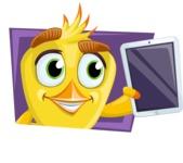Simple Style Bird Cartoon Vector Character AKA Birdy Eyebrows - Shape 3