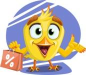 Simple Style Bird Cartoon Vector Character AKA Birdy Eyebrows - Shape 6