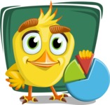 Simple Style Bird Cartoon Vector Character AKA Birdy Eyebrows - Shape 7