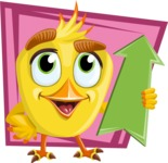 Simple Style Bird Cartoon Vector Character AKA Birdy Eyebrows - Shape 8