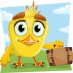 Simple Style Bird Cartoon Vector Character AKA Birdy Eyebrows - Shape 9