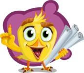 Simple Style Bird Cartoon Vector Character AKA Birdy Eyebrows - Shape 10