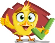 Simple Style Bird Cartoon Vector Character AKA Birdy Eyebrows - Shape 11