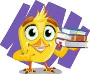 Simple Style Bird Cartoon Vector Character AKA Birdy Eyebrows - Shape 12
