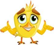 Simple Style Bird Cartoon Vector Character AKA Birdy Eyebrows - Sorry