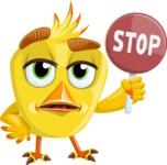 Simple Style Bird Cartoon Vector Character AKA Birdy Eyebrows - Stop