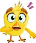 Simple Style Bird Cartoon Vector Character AKA Birdy Eyebrows - Stunned