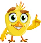 Simple Style Bird Cartoon Vector Character AKA Birdy Eyebrows - Attention