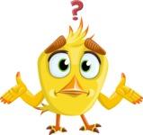 Simple Style Bird Cartoon Vector Character AKA Birdy Eyebrows - Lost