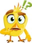 Simple Style Bird Cartoon Vector Character AKA Birdy Eyebrows - Confused