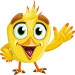Simple Style Bird Cartoon Vector Character AKA Birdy Eyebrows - Hello