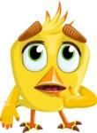 Simple Style Bird Cartoon Vector Character AKA Birdy Eyebrows - Oops