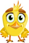 Simple Style Bird Cartoon Vector Character AKA Birdy Eyebrows - Patient